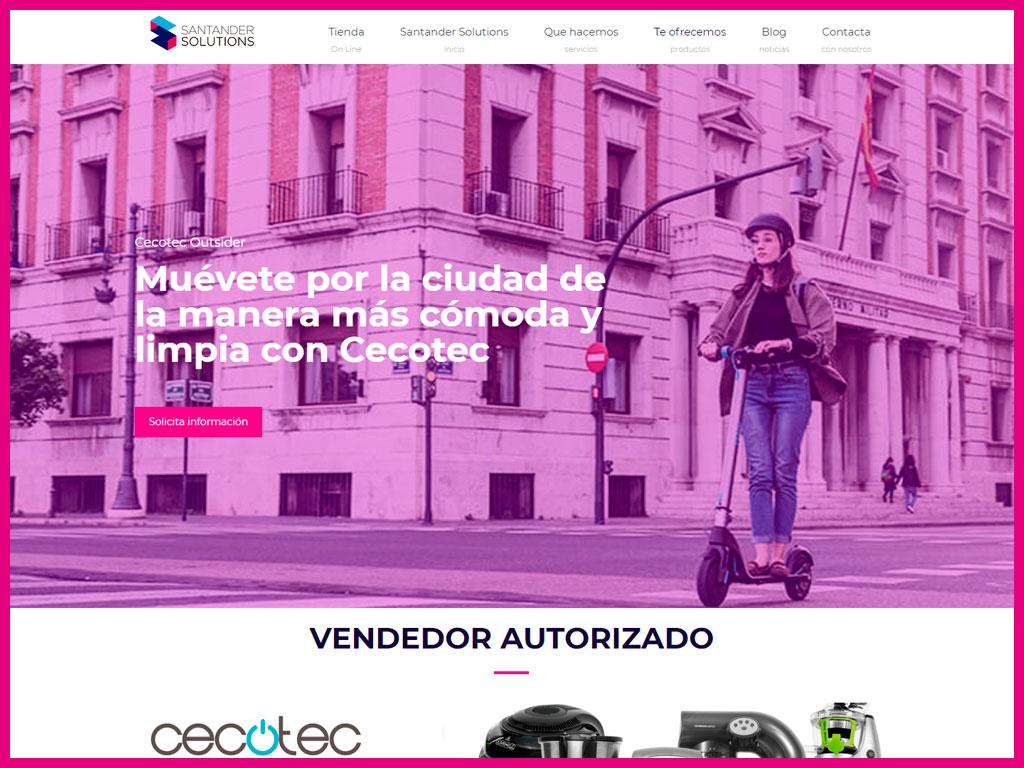 Página web corporativa para Santander Solutions